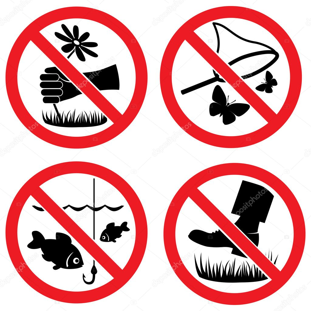 Nature protection vector signs