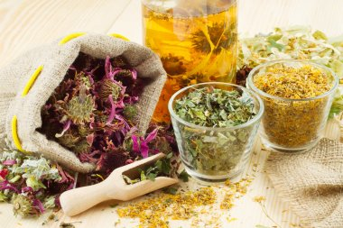 Healing herbs and healthy tea on wooden table, herbal medicine stock vector