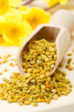 Bee pollen in wooden scoop, yellow flowers as background