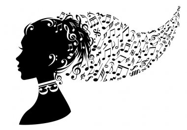 Woman with music notes, vector
