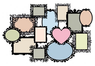 Blank picture frame set, vector