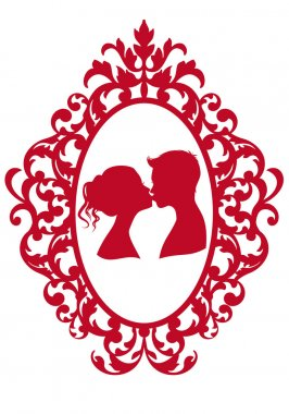 Kissing couple in antique picture frame, vector background stock vector