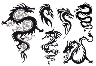 Dragon tattoo, vector