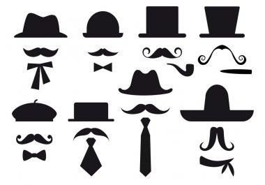 Mustaches, hats and ties, gentleman vector set stock vector