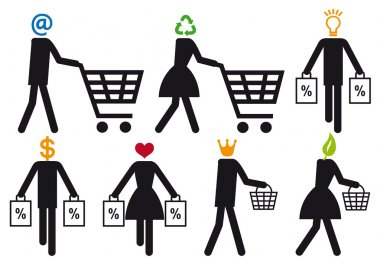 Smart shopper, vector icon set