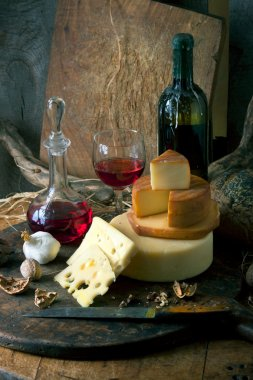 Rustic still life with cheese