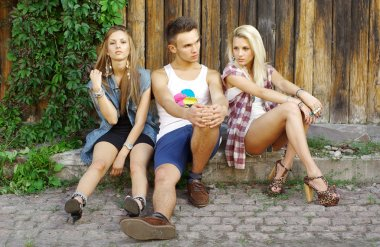 Fashion shot of a trendy group of young