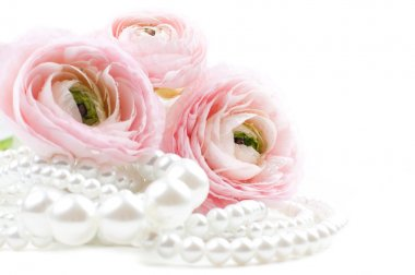 Pink flowers and pearl beads