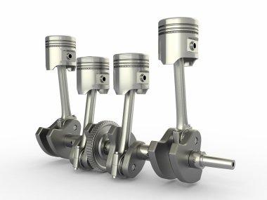 Pistons and crankshaft. four cylinder engine.
