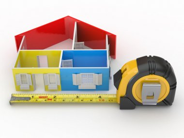 Measure tape and abstract three-dimensional house