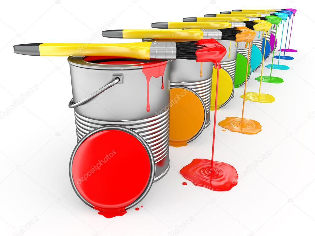 Barattolo di vernice e pennello nei colori dellarcobaleno — Foto Stock ©...