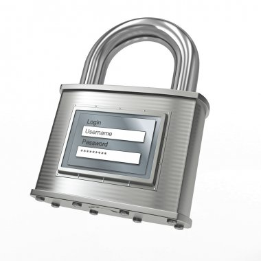 Padlock with login and password. 3d
