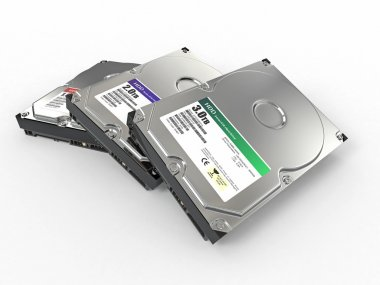 HDD. Three ATA Hard disk drive. 3d