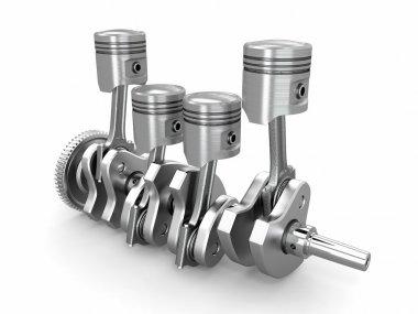 Pistons and crankshaft. four cylinder engine