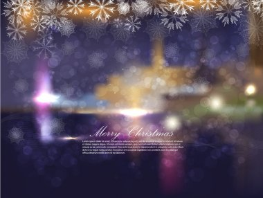 Christmas night city with snowflakes and bokeh. Abstraction a vector a back