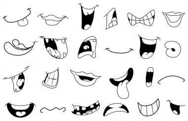 Outlined cartoon mouths