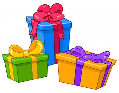 Cartoon gifts. All gifts are on separate layers clip art vector