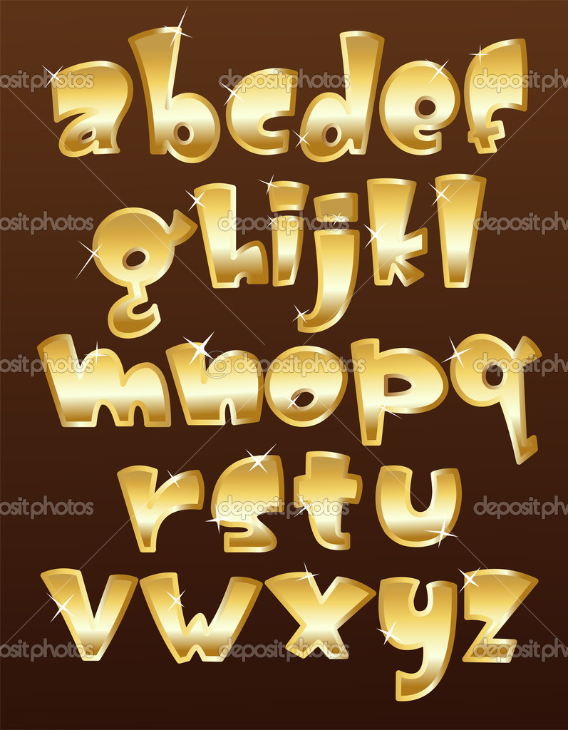 Lower case gold alphabet