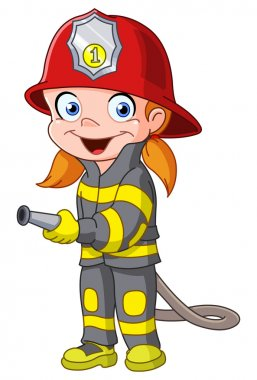 Young girl in a fireman costume stock vector