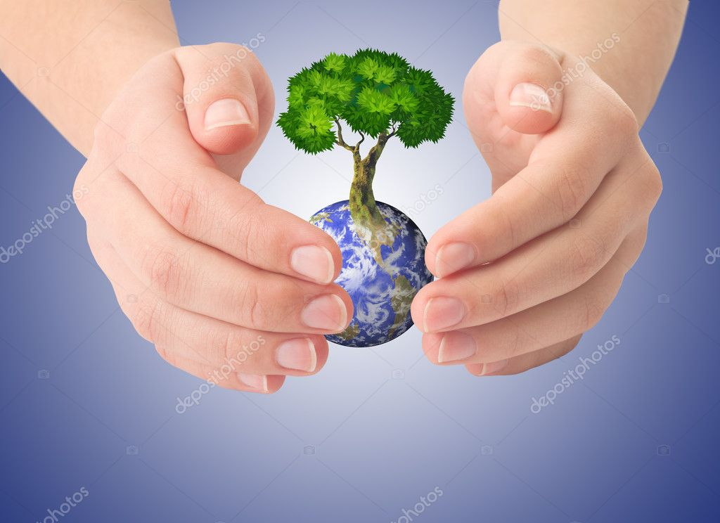 Hands and Earth and the tree