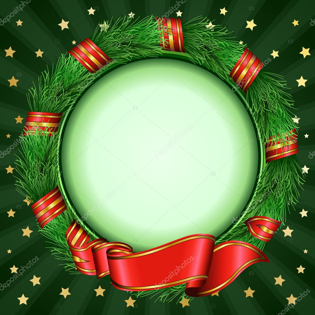 Round frame with decorative branch vector illustration stock - Christmas Circle Frame Of Fir Branches Stock Vector 8753654