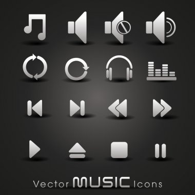 Vector grey music icons,for more music products please visit Our