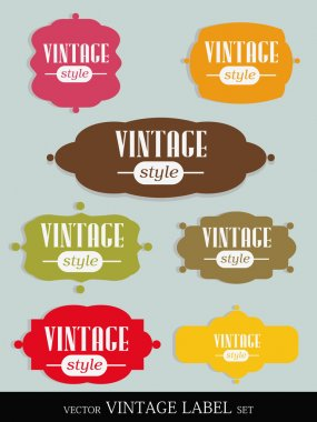 Set of elegant but simple colorful RETRO labels - easy editable. EPS10 vector.