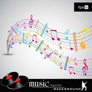 Note and sound waves. Musical colorful wave line of music notes background. EPS 10, vector illustration.