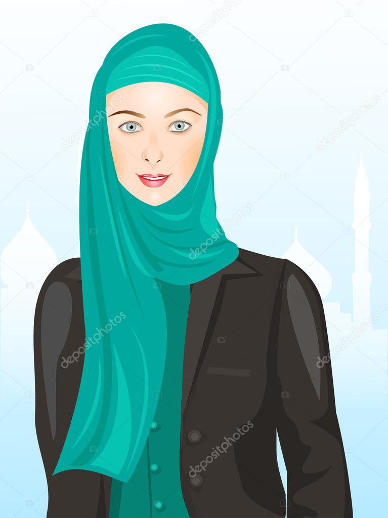 Portrait of muslim beautiful girl in hijab,