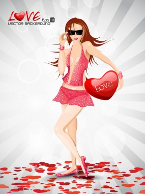 Portrait of a beautiful girl holding a red heart on abstract background and space for your message. EPS 10, vector illustration. clip art vector