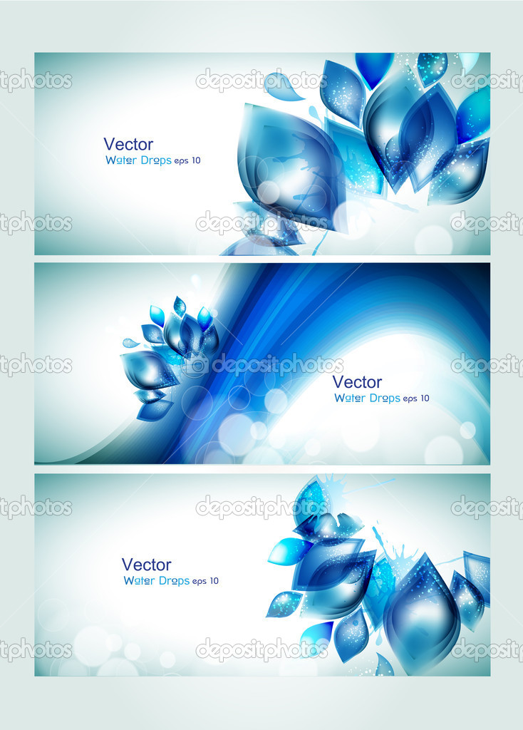 Abstract water headers with splash and glitter effects.