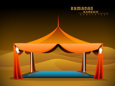 Vector orange Ramadan Majlis Tent for iftar