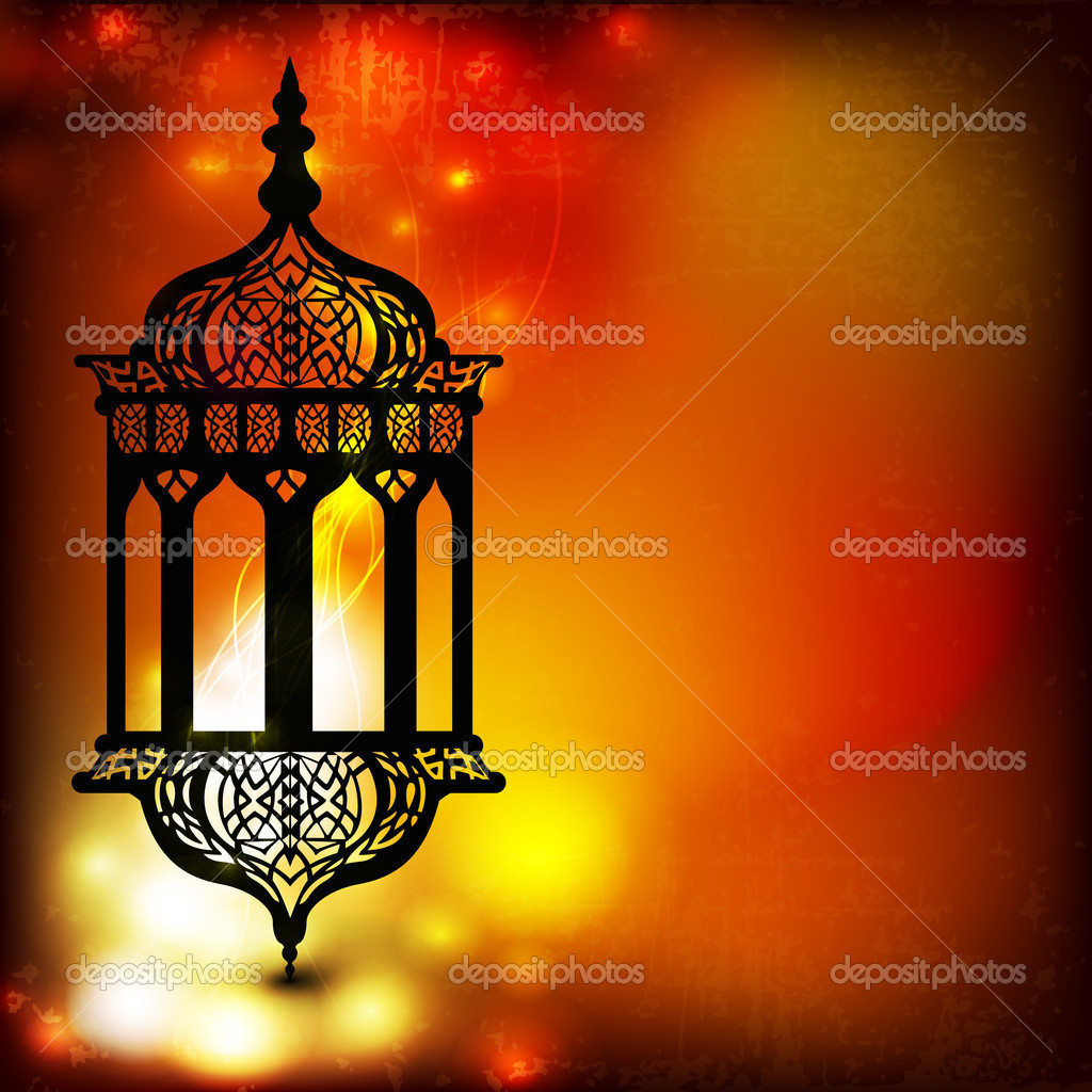 Intricate arabic lamp with beautiful lights in the background wi