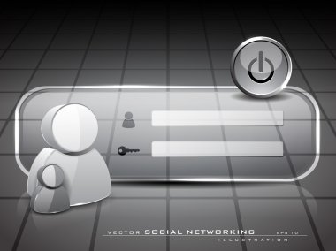 Login screen with 3D user icons on abstract grey background