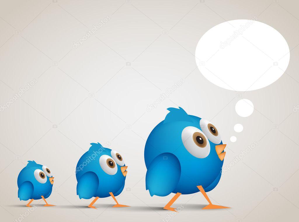 social networking cartoon blue birl following. EPS10, vector ill