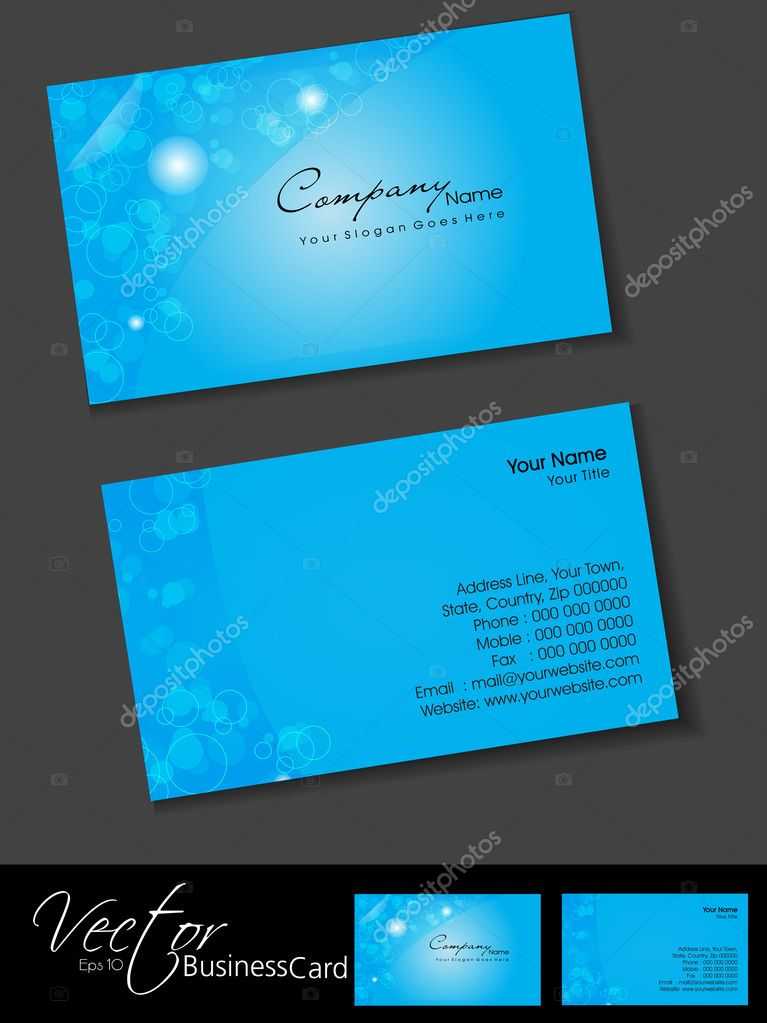 Professional business cards, template or visiting card set. Arti ...