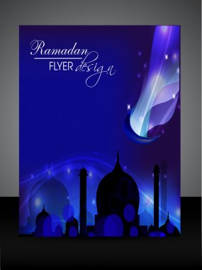 Ramadan flyer or banner design with Mosque or Masjid silthouette
