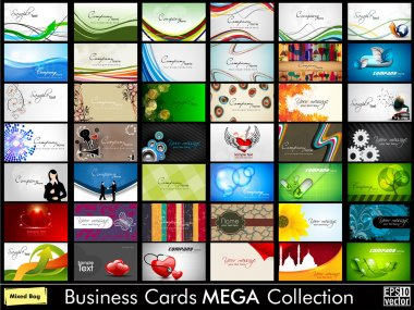 Elegant Abstract Vector Business Cards, Mixed Bag set in various