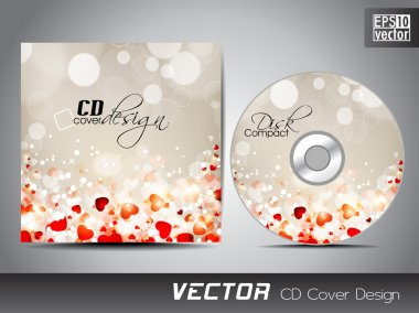 CD cover presentation design template with copy space and love c