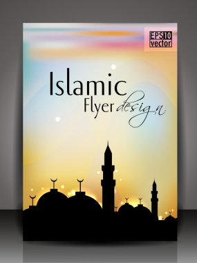 Islamic flyer, brochure or cover design with Mosue or Masjid silthoette.