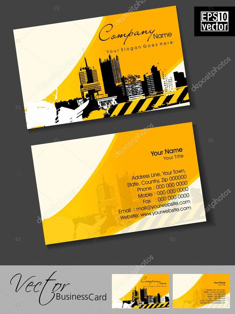 Carte De Visite Immobilier Professionnel Avec Silhouett Urbain Ville Image Vectorielle