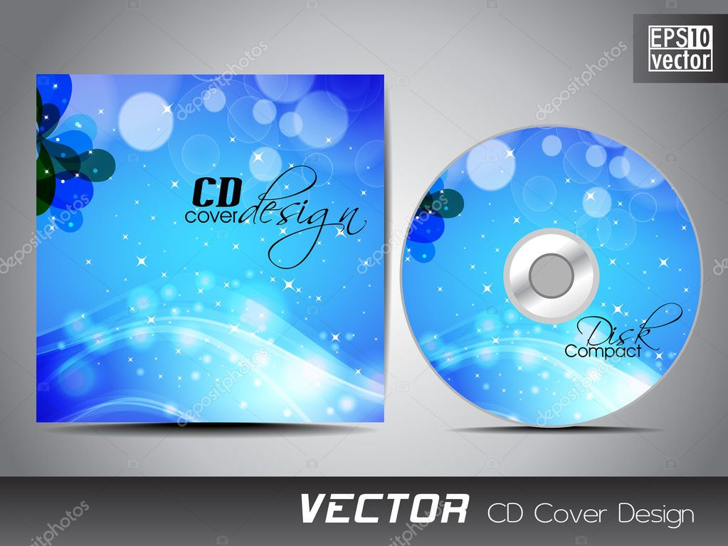 cd cover presentation design template with copy space and wave e, Presentation templates