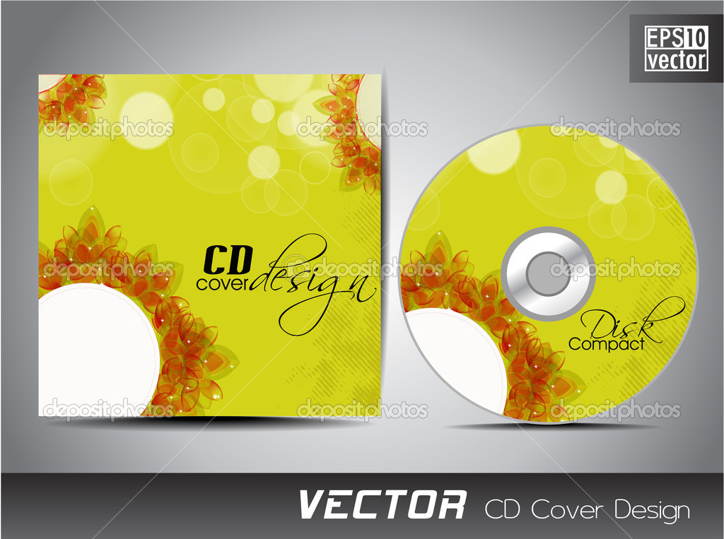 cd cover presentation design template with copy space and flower, Presentation templates