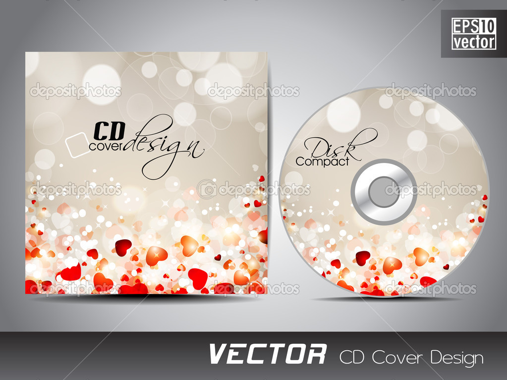 cd cover presentation design template with copy space and love c, Presentation templates