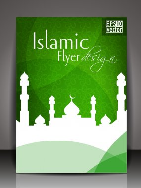Islamic flyer or brochure and cover design with Mosque or Masjid