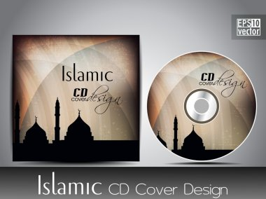 Islamic CD cover design with Mosque or Masjid silhouette with wave and grunge effects in light brown color