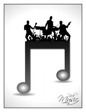 3D musical notes with burst effect and rock band silhouette on music notes. EPS 10, can be use as banner, tag, icon, sticker, flyer or poster. Vector illustration in EPS 10.