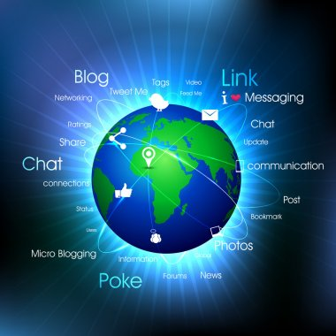 Globe with pointers, signals and social networking icons text, Social media network connection and communication
