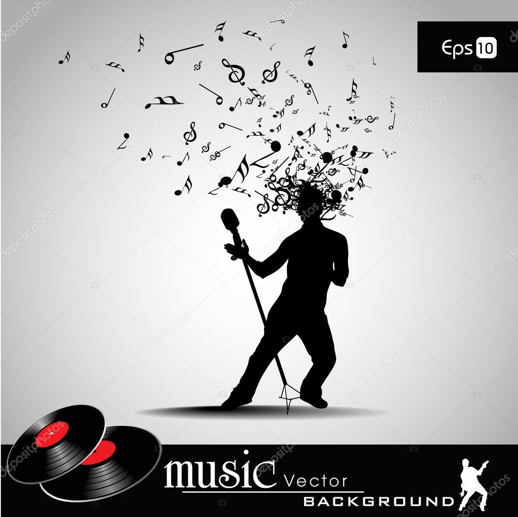 Party banner, flyer or poster with a guy silhouette and microphone on musical notes background. EPS 10. can be use as banner, tag, icon, sticker, flyer or poster.