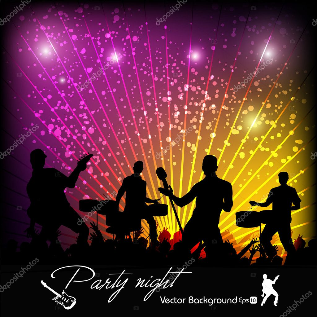 Vector music event abstract colorful background with playing guitar , music instruments and drums on floor.